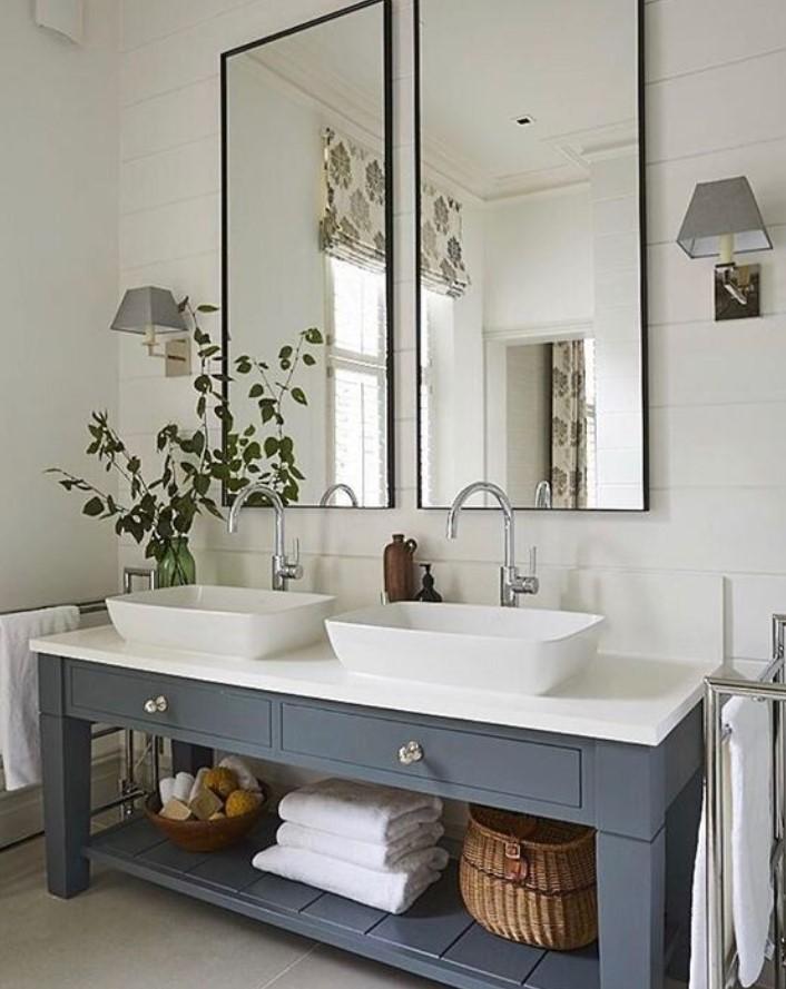 καθρέφτης μπάνιου με δύο κομμάτια