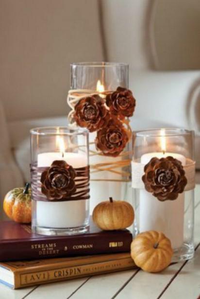 κεριά βιβλία φθινοπωρινές ιδέες διακόσμηση