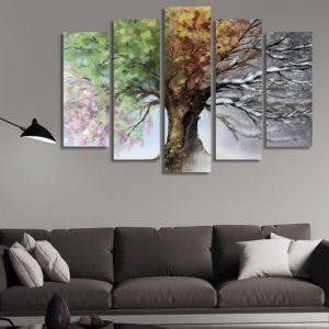 διακόσμηση τοίχων με πίνακες σε κομμάτια