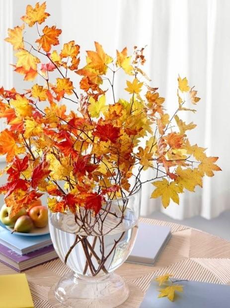 βάζο κίτρινα φύλλα