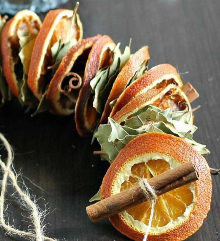 diy γιρλάντα με πορτοκάλια