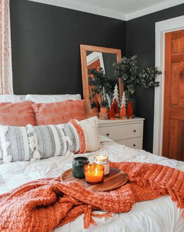 φθινοπωρινή διακόσμηση στο υπνοδωμάτιο