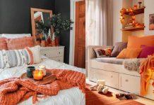 φθινοπωρινή διακόσμηση για το υπνοδωμάτιο