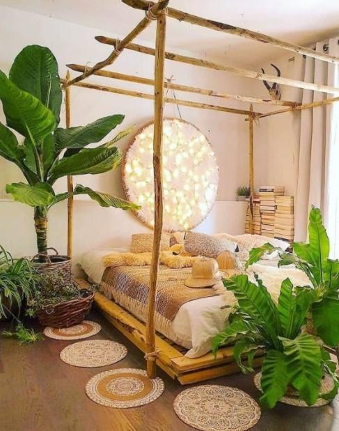 κρεβατοκάμαρα μεγάλα φυτά