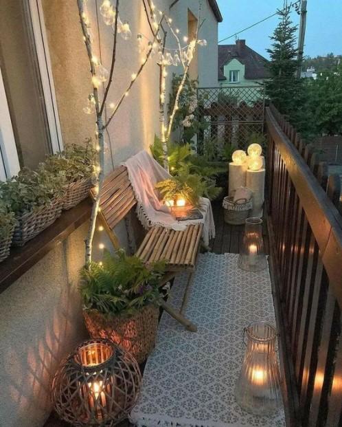 μπαλκόνι κεριά χαλάκι φθινόπωρο