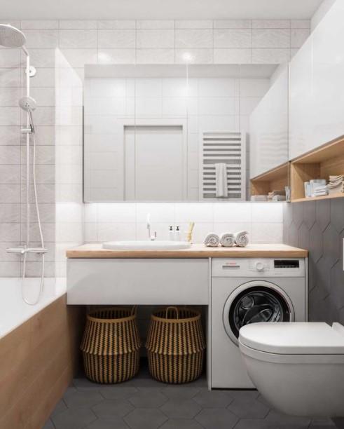 μπάνιο πλυντήριο μεγάλος καθρέπτης