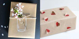περιτύλιγμα δώρου με χαρτί κραφτ