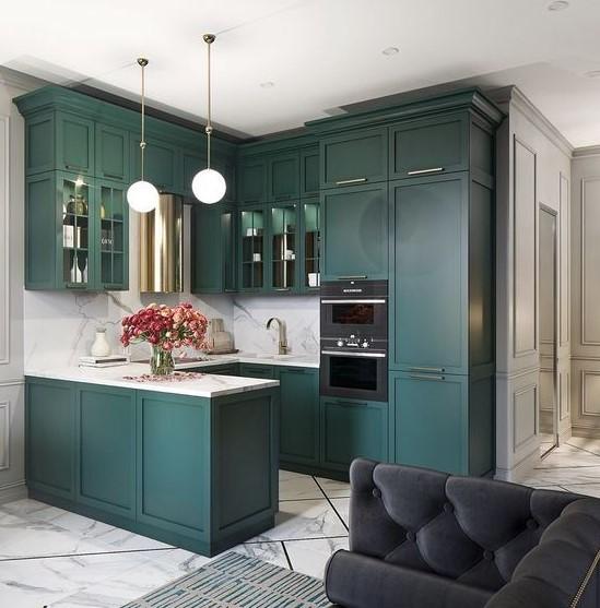 πράσινη κουζίνα σχήμα Π