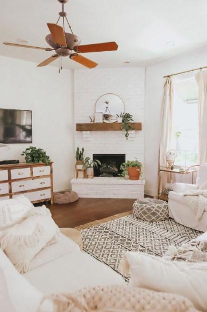 σαλόνι λευκό χρώμα δείχνει σπίτι πιο ζεστό
