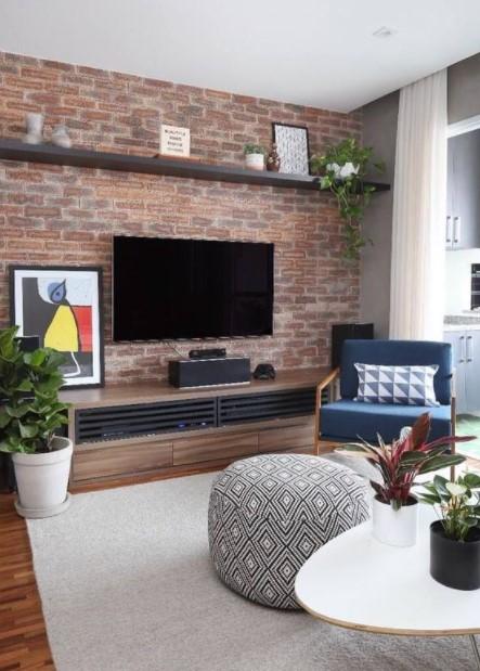τοίχο τηλεόρασης τούβλο